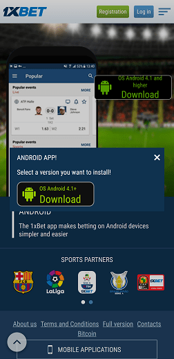Download 1xbet app for android on mobile website