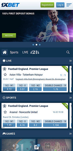 Mobile version 1xbet home page